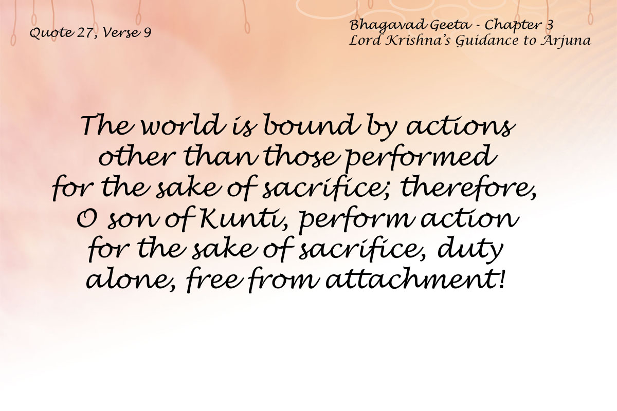 Bhagavad Geeta Chapter 3 Verse 9