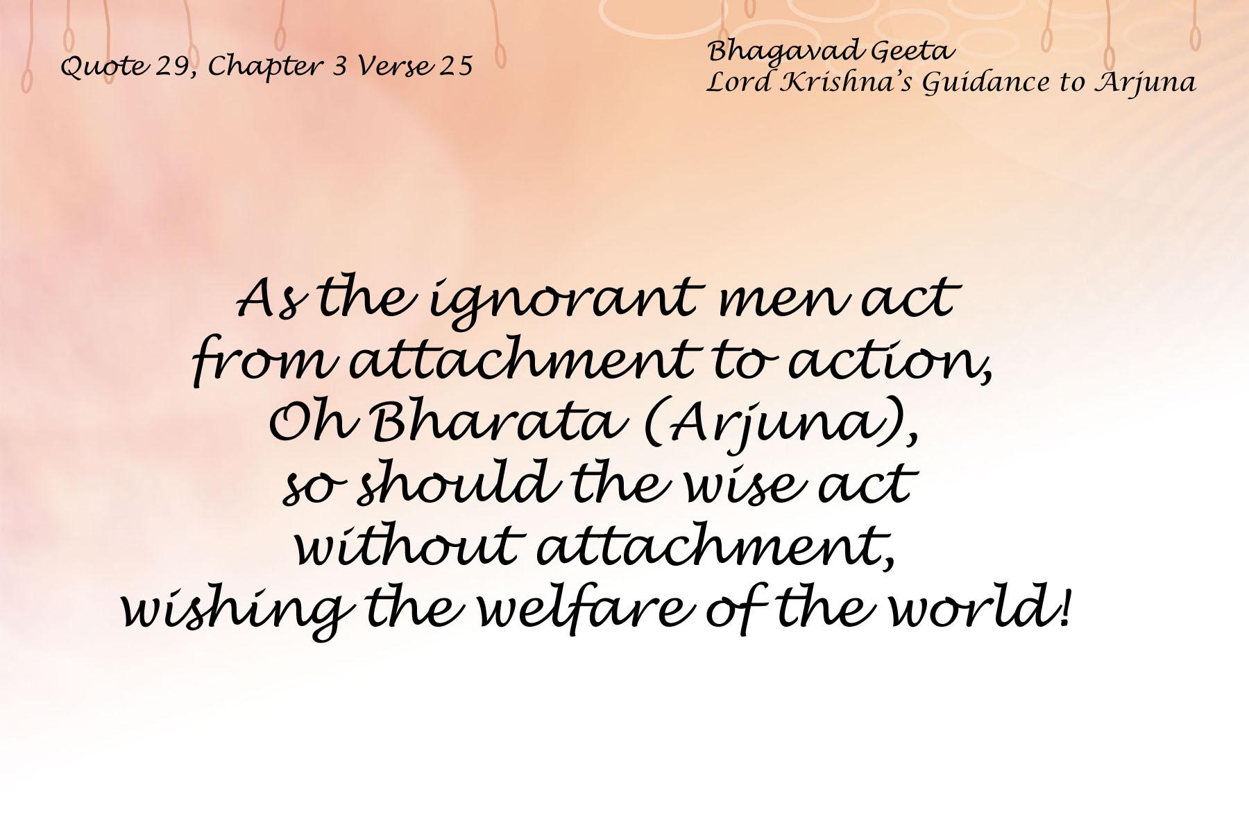 Bhagavad Geeta Chapter 3 Verse 25